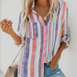 Striped Button Down Top never worn